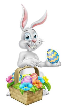 Easter bunny rabbit on egg hunt illustration.