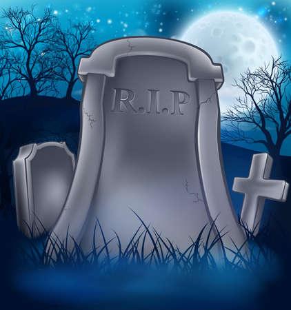 Graveyard Halloween background. 일러스트
