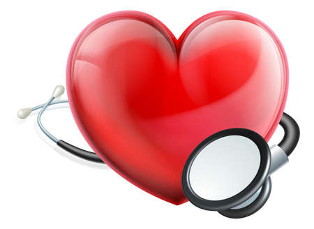 Heart icon and stethoscope concept.