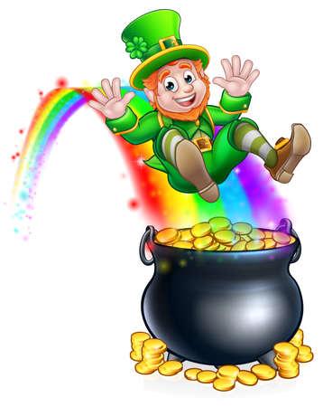 St Patricks day leprechaun rainbow pot of gold.