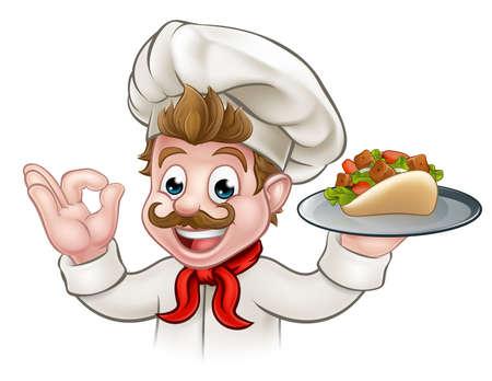 Cartoon Chef Kebab Vectores
