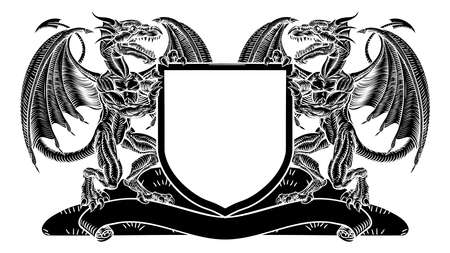 Dragon Heraldry Crest Coat of Arms Shield Emblem