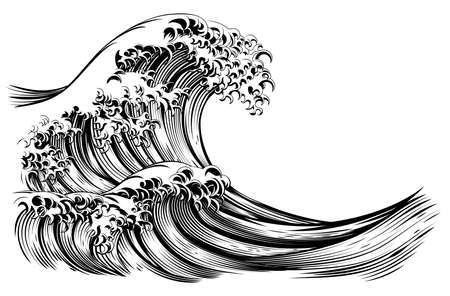 Great Wave Japanese Style Engraving