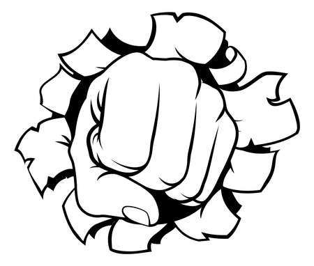 Fist Punching Through Background Çizim