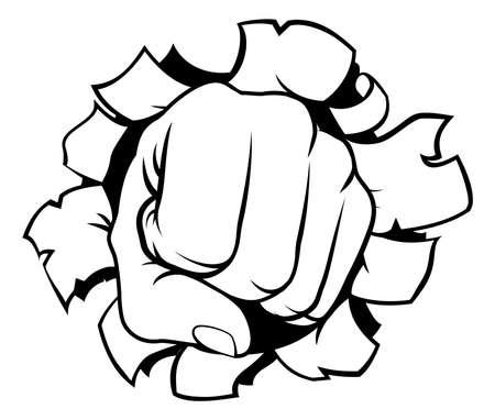 Fist Punching Through Background Stock Illustratie