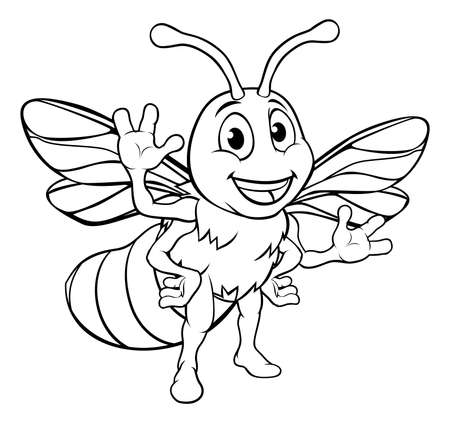 Cartoon Bee Character Vettoriali