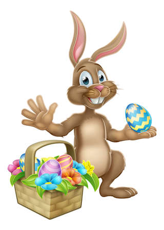 Easter Bunny Hunting Egg Cartoon
