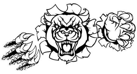 Black Panther Tiger Background Breakthrough Standard-Bild - 96927467