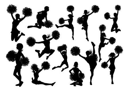 Silhouette of Cheerleaders vector illustration set Çizim