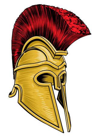 Ancient Greek Gladiator Helmet vector illustration