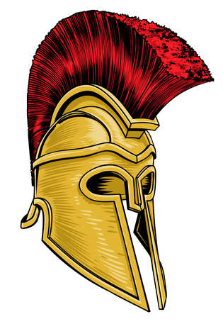Ancient Greek Gladiator Helmet vector illustration