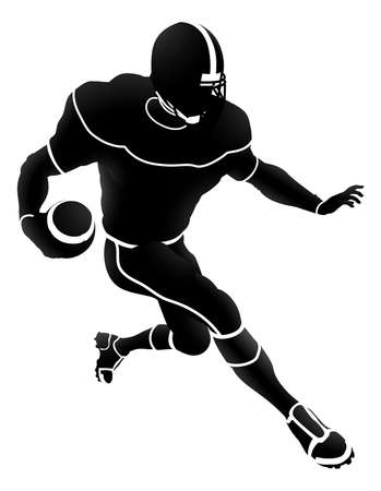 Silhouette of an American Football Player vector illustration Illustration