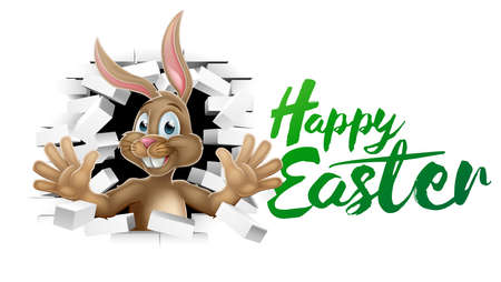 Happy Easter with Bunny Rabbit vector illustration