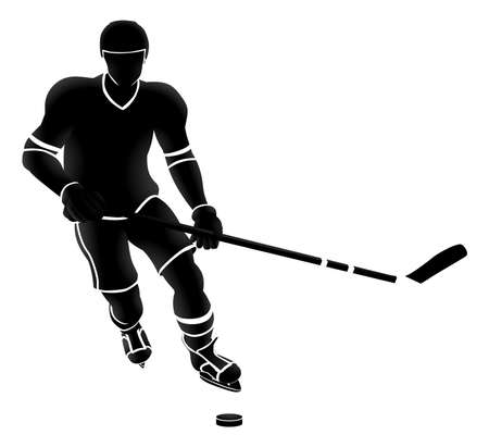 Ice Hockey Player Silhouette vector illustration Illustration
