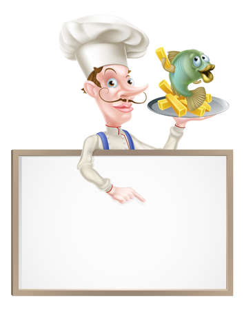 Cartoon Chef Holding Fish and Chips vector illustration