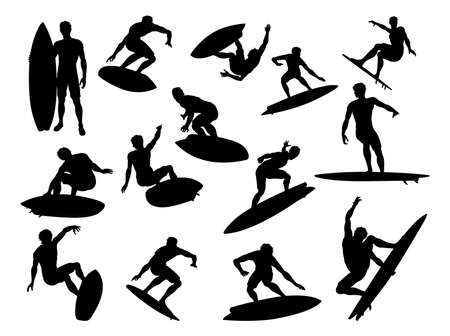 Surfer Silhouettes Detailed