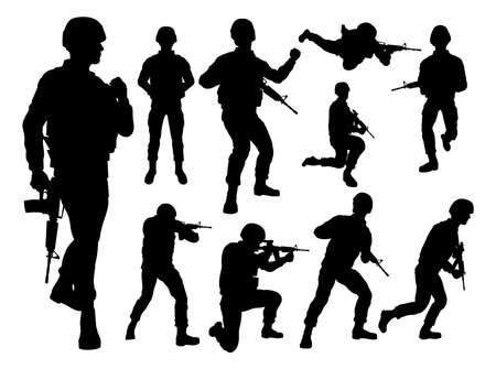 Ilustración de soldados silueta sobre fondo blanco.