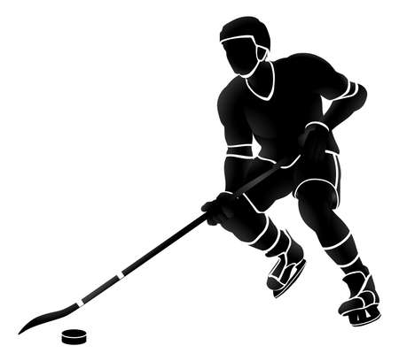 Ice Hockey Player Sports Silhouette Ilustracja