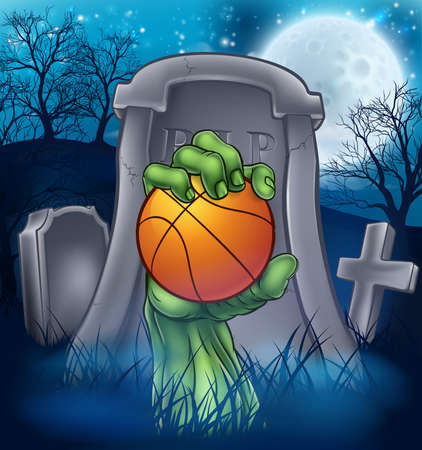 A sports Halloween graveyard illustration with a zombie hand breaking out of a grave holding a basketball ball.