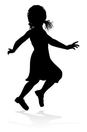 A high quality detailed kid child in silhouette playing and having fun Illustration