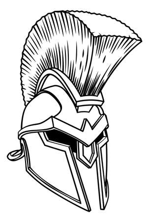 A warriors ancient Greek Spartan, Roman gladiator or trojan armour helmet Illustration