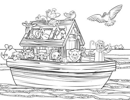 Christian Bible story of Noah s Ark. With a white dove returning with olive branch from emerging land in the distance black and white coloring page Archivio Fotografico - 97223614