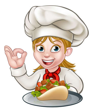 A chef woman cartoon character holding a kebab