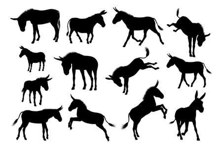 Un conjunto de siluetas detalladas de animales de granja de burros de alta calidad
