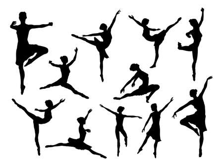 A set of high quality detailed silhouettes of a ballet dancer dancing in various poses and positions Ilustração