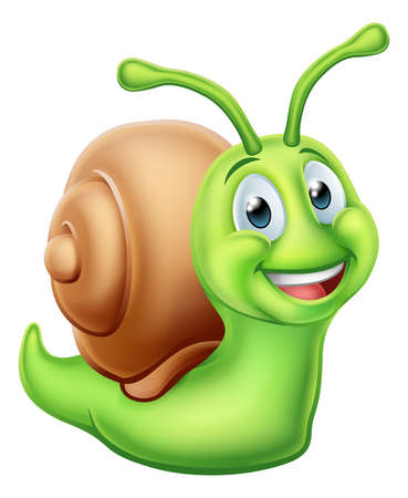 A snail worm cute cartoon character mascot Stock Vector - 97223619