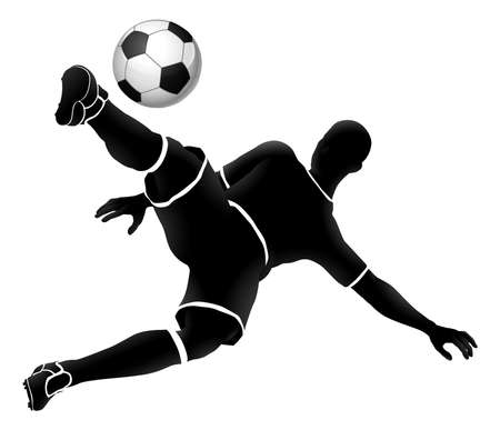 A soccer football player jumping and kicking a ball silhouette sports illustration