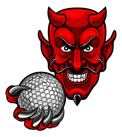 A devil cartoon character sports mascot holding a golf ball