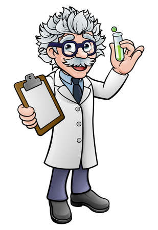 Cartoon Scientist Holding Test Tube and Clipboard