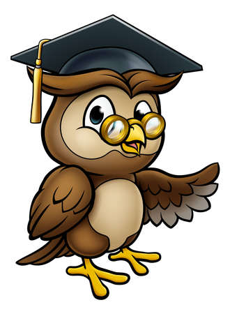 Wise Owl Cartoon Graduate Teacher Pointing