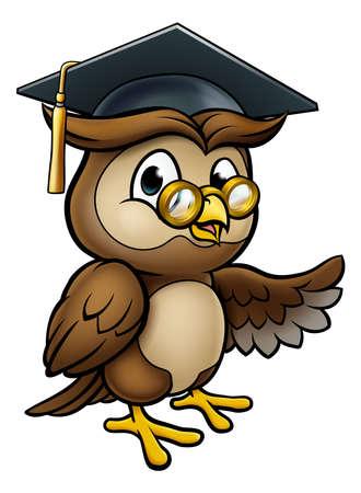 Kluger Owl Cartoon Graduate Teacher Pointing Standard-Bild - 97663896