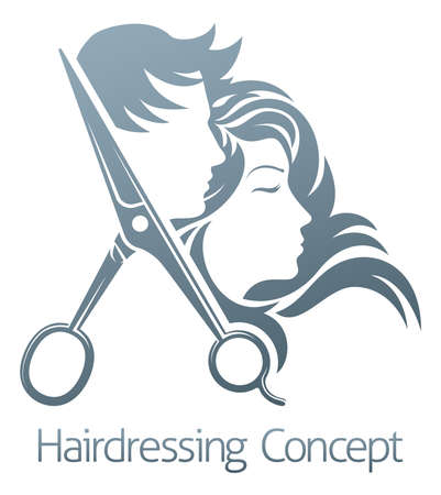 Hairdressing concept logo vector illustration Stock Illustratie