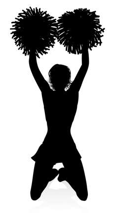 Silhouette Cheerleader Vector illustration.