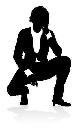 Silhouette Business Person Vector illustration.