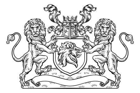 Lions Crest Shield Coat of Arms Heraldic Emblem Illustration
