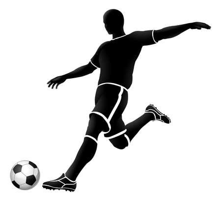 voetbal silhouet bw 2018 A3-02 [geconverteerd] Vector Illustratie