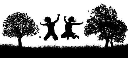 Happy Children in the Park Silhouette