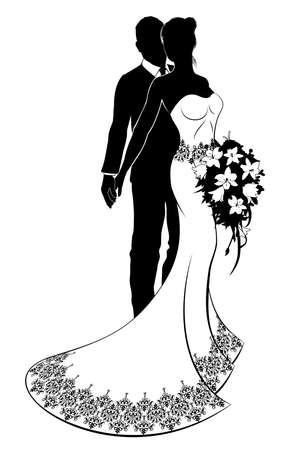 Bride and Groom Wedding Silhouette Vector illustration.