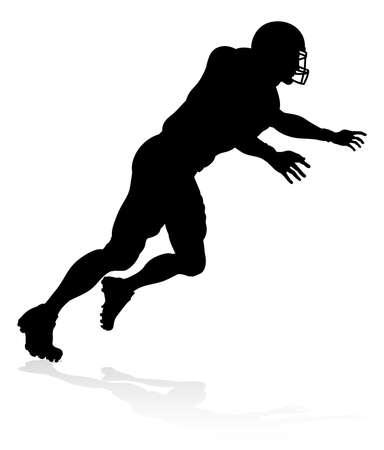Amerikaanse voetbal speler silhouet vectorillustratie.