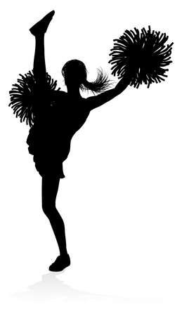 Detailed silhouette cheerleader with pompoms Vector illustration.