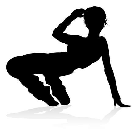 Street Dance Dancer Silhouette Illustration. Stock Illustratie