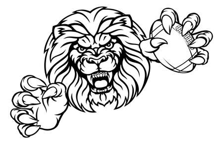 Lion American Football Ball Sports Mascot Vector illustration.
