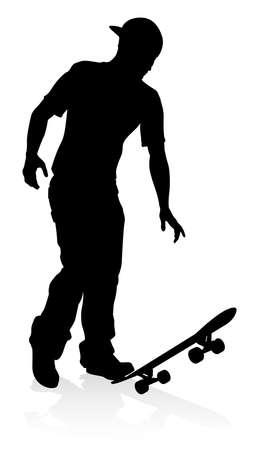 Skater Skateboarder Silhouette vector illustration isolated on plain background.