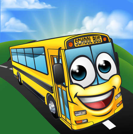 School Bus Cartoon Character Mascot Scene Illustration