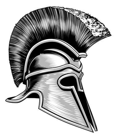 Casco de guerrero troyano griego antiguo espartano