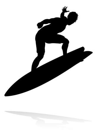 A high quality detailed silhouette of a surfer surfing the waves on his surfboard  イラスト・ベクター素材